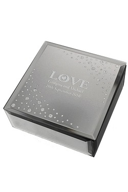 Love Diamante Glass Trinket Box