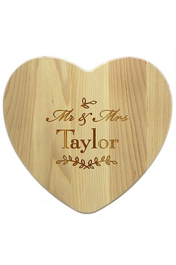 Mr and Mrs Leaf Heart Chopping Board