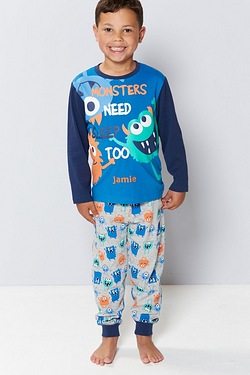Boys Personalised Monster Pyjamas