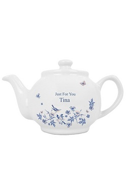 Country Diary Blue Blossom Personalised Teapot