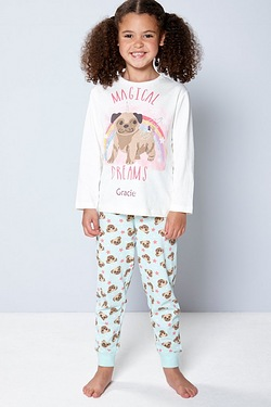 Girls Personalised Pug Pyjamas