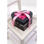 Pink Rose Heart Hat Box Arrangement