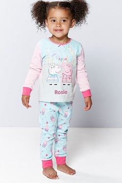 Girl's Peppa Pig Personalised Pyjamas
