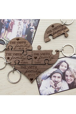 Personalised Our Family Heart Woode...