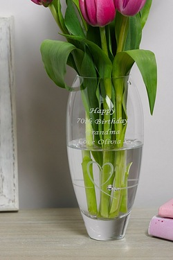 Personalised Heart Diamante Vase Small