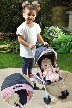 Personalised Dolls Navy Stroller