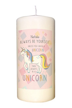 Always Be A Unicorn Pillar Candle