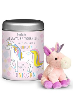 Always Be A Unicorn Teddy In A Tin