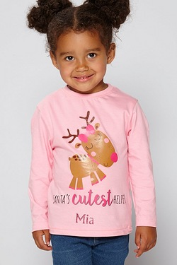 Girls Christmas Personalised T-Shir...