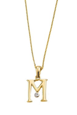 "9ct Yellow Gold Initial Pendant Set With Cz On 18"" Curb Chain"