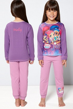 Girls Personalised Shimmer and Shine Pyjamas