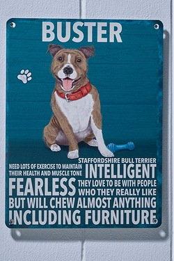 Personalised Metal Dog Sign - Staffy