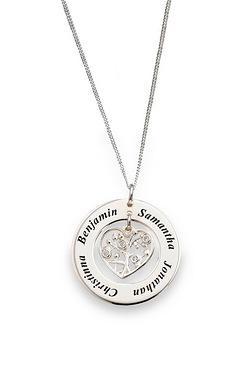 "Personalised Sterling Silver Family Circle With CZ Set Heart Charm Pendant On 18"" Curb Chain"