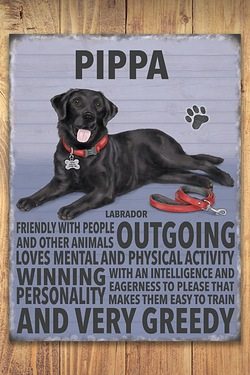 Personalised Metal Dog Sign - Black Labrador