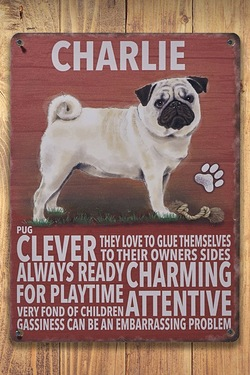 Personalised Metal Dog Sign - Pug