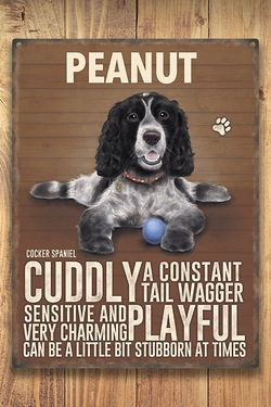 Personalised Metal Dog Sign - Cocker Spaniel