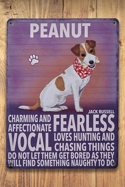 Personalised Metal Dog Sign - Jack Russell