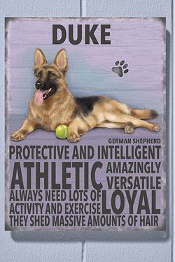 Personalised Metal Dog Sign - German Shepherd