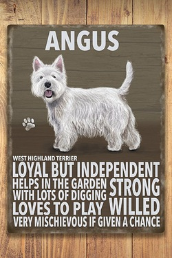 Personalised Metal Dog Sign - Westie