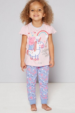 Girls Personalised Peppa Pig Unicorn Pyjamas