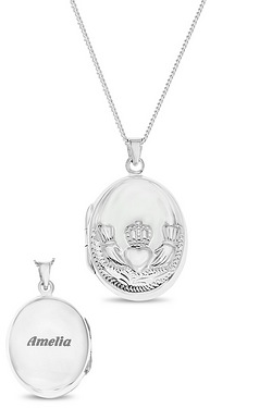 Personalised Sterling Silver Claddagh Locket