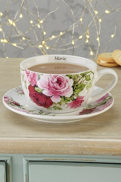 Personalised Roses Cup and Saucer