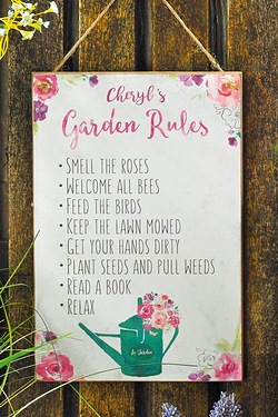 Personalised Floral Fusion Garden Rules Sign