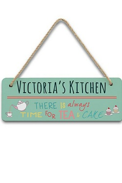 Personalised Always Time For Tea and Cake Hanging Sign