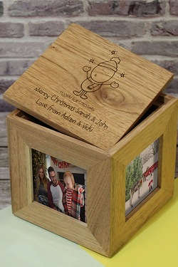 Personalised Chilli and Bubbles Generic Christmas Wooden Photo Cube