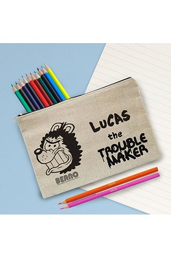 Personalised Beano Big Heads Gnasher Canvas Pencil Case and Pencils