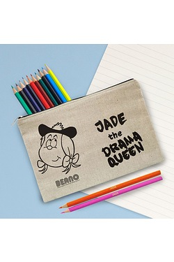 Personalised Beano Big Heads Minnie Canvas Pencil Case and Pencils