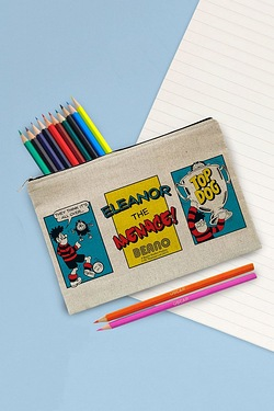 Personalised Beano Classic Comic Strip Top Dog Canvas Pencil Case and Pencils