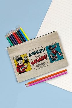Personalised Beano Classic Comic Strip Water Pistol Canvas Pencil Case and Pencils