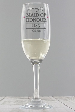 Personalised Mr and Mrs Maid of Honour Glass Flute