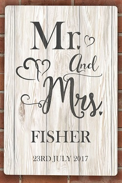 Personalised Mr and Mrs Metal Sign