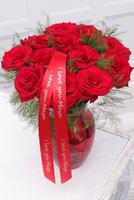 Image of Dozen Rose and Vasewith Personalised Ribbon