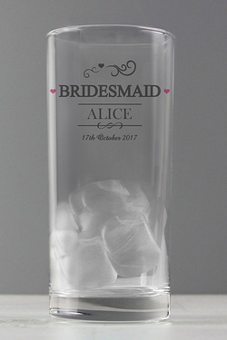 Personalised Mr And Mrs Bridesmaid Hi Ball Glass