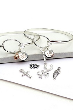 Personalised Mini Charm and Letter Loop Bangle