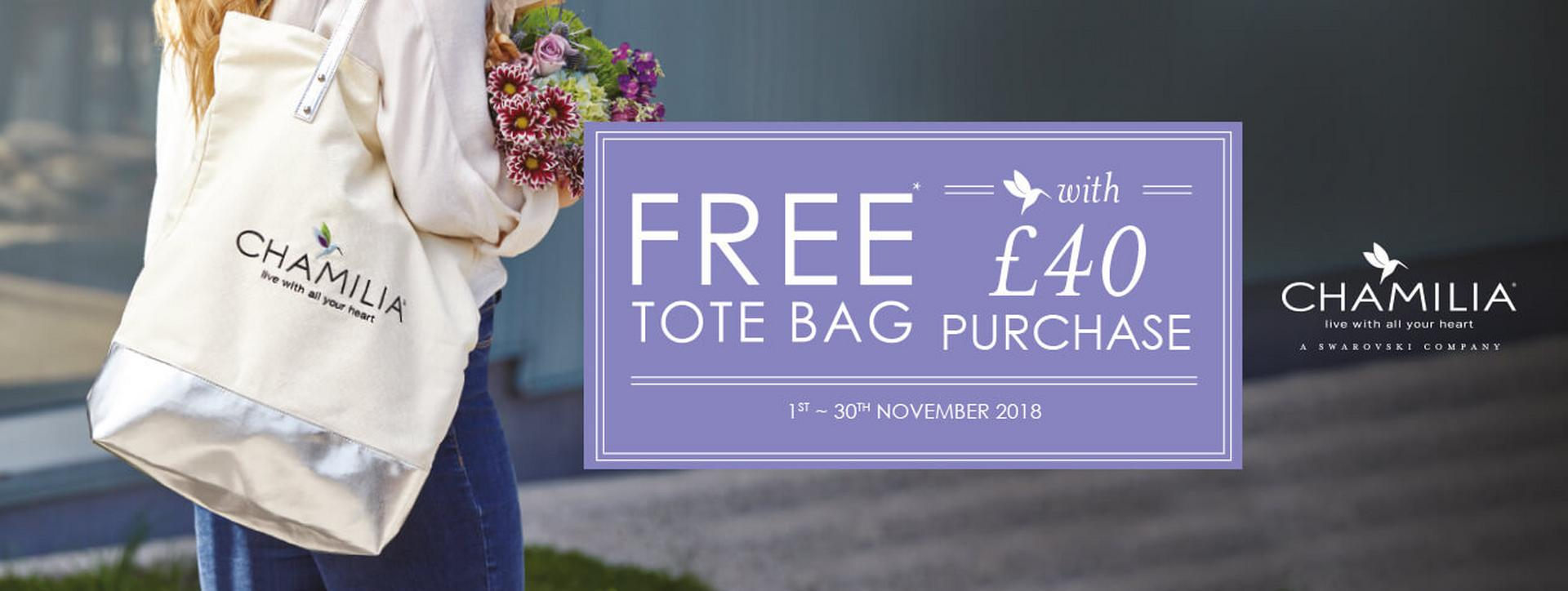 Get a FREE tote bag with any £40 purchase on Chamilia at Ernest Jones