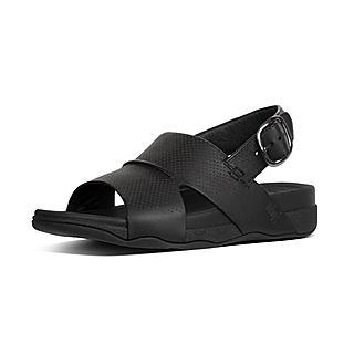 핏플랍 반도 샌들 블랙 - FitFlop BANDO Sandal In Perforated Leather,Black