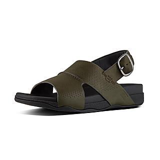 핏플랍 반도 샌들 다크그린 - FitFlop BANDO Sandal In Perforated Leather,Camouflage Green