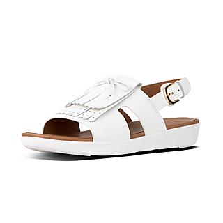 핏플랍 H-프린지 샌들 (화이트) FitFlop H-BAR Leather Back-Strap Fringe Sandals, Urban White