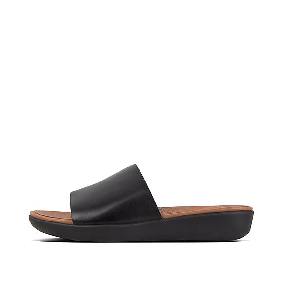 핏플랍 솔라 슬라이드 블랙 FitFlop SOLA Leather Slides,Black