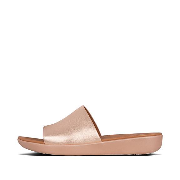 핏플랍 솔라 슬라이드 로즈 골드 FitFlop SOLA Leather Slides,Rose Gold