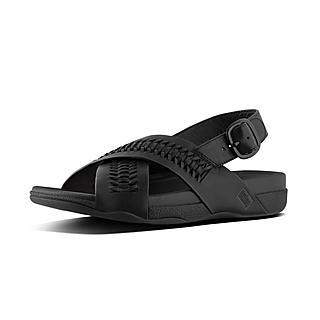 핏플랍 서퍼 백 스트랩 우븐 샌들 블랙 -  FitFlop SURFER Back-Strap Sandal In Woven Leather,Black