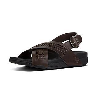 핏플랍 서퍼 백 스트랩 샌들 초콜릿 브라운 - FitFlop SURFER Back-Strap Sandal In Woven Leather,Chocolate Brown