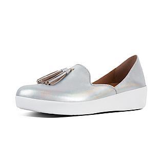 핏플랍 슈퍼스케이트 도르세이 로퍼 실버 FitFlop SUPERSKATE DOrsay Leather Loafers,Silver Iridescent