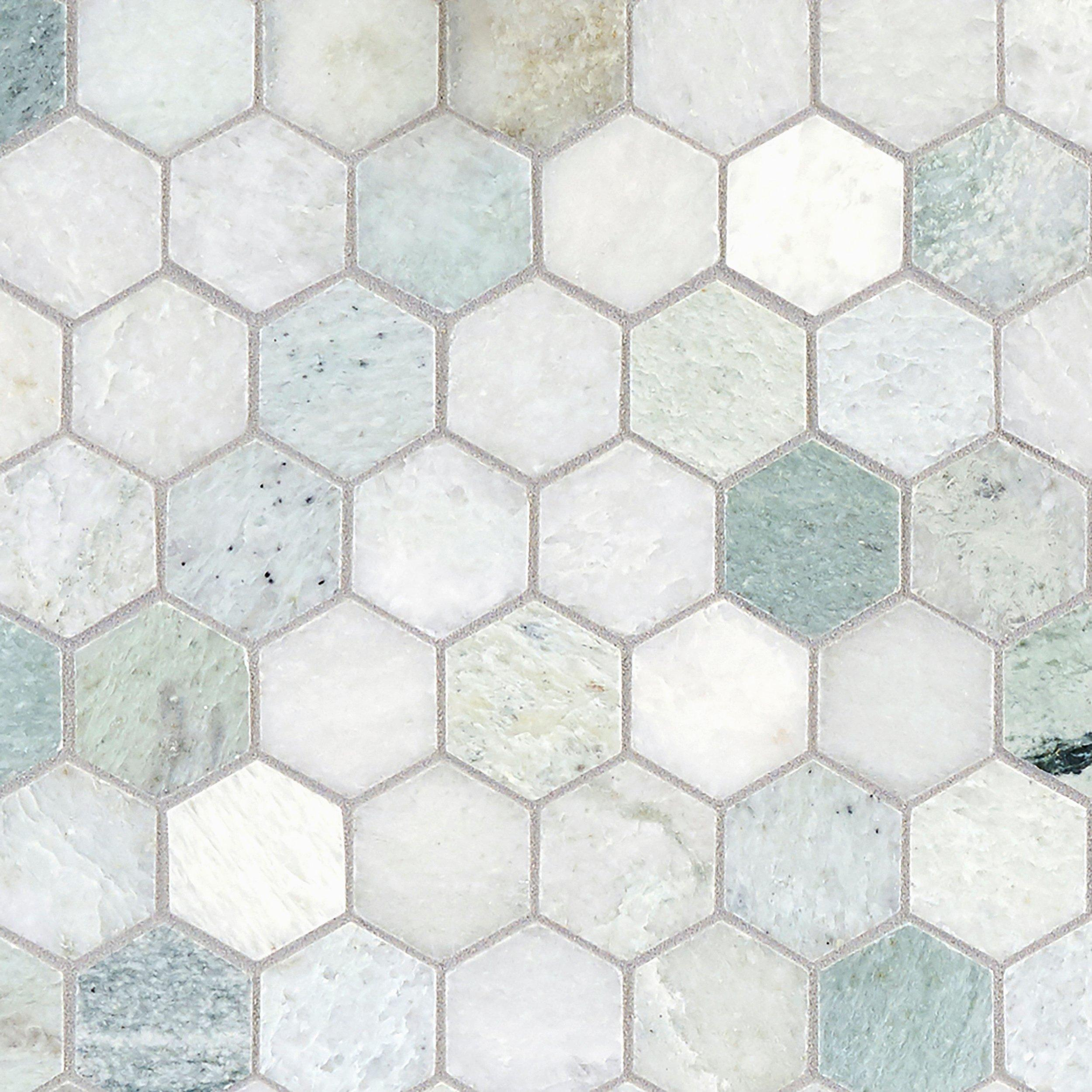 Caribbean Green Hexagon Tumbled Marble Mosaic 12 X 12 100052604 Floor And Decor