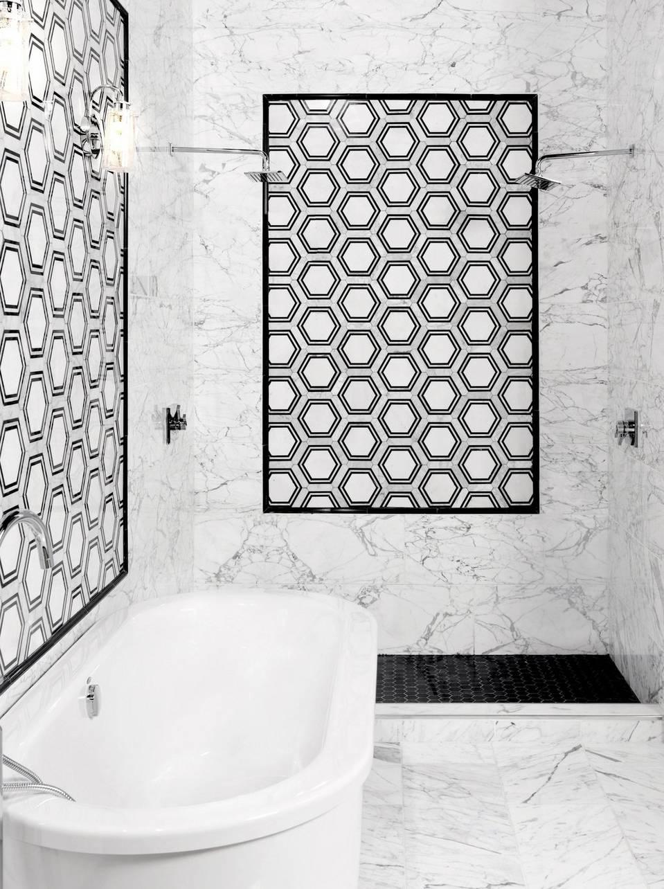 Viviano Marmo Carrara Thassos Hexagon Waterjet Marble Mosaic