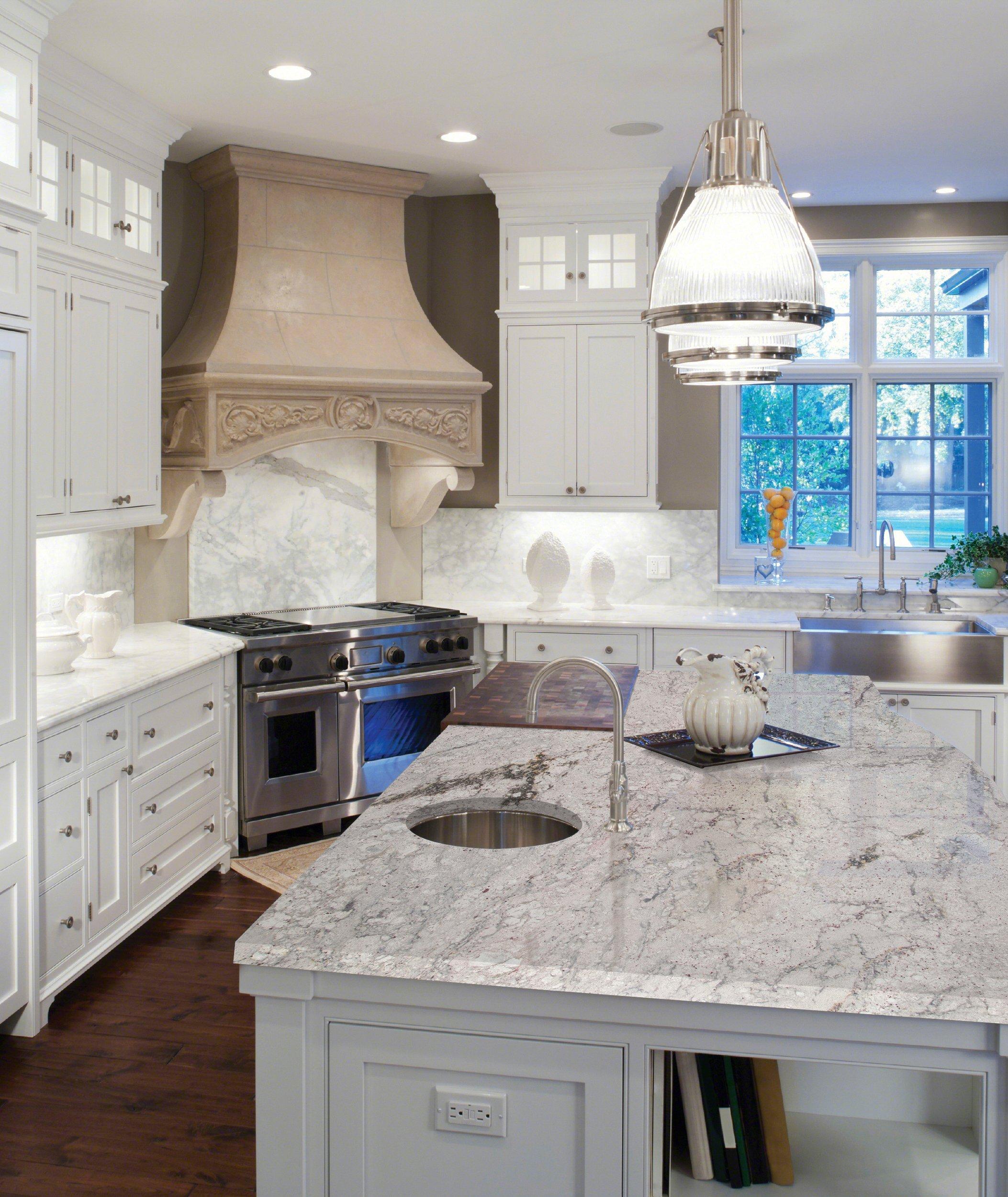 Ready To Install River White Granite Slab Includes Backsplash 112 X 26 100224302 Floor And Decor